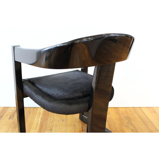 Karl Springer Modern 'Onassis' Black Lacquer Armchairs With Pony Hair Seats For Sale In New York - Image 6 of 12