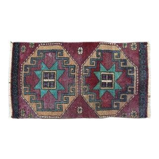 "Early 20th Century Handmade Turkish Accent Rug Carpet, 1'6"" X 2'9"""