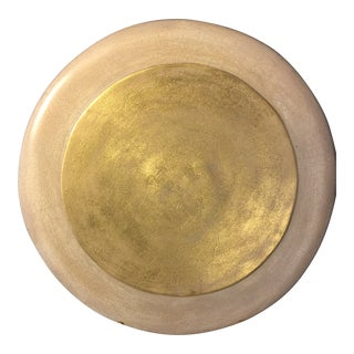 Large Heavyweight Gold Ceramic Sun Disc For Sale