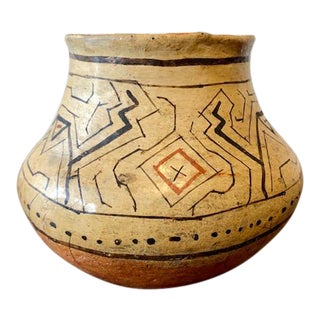 Vintage Hand Made Shippibo Indian - Peruvian Clay Vessel For Sale