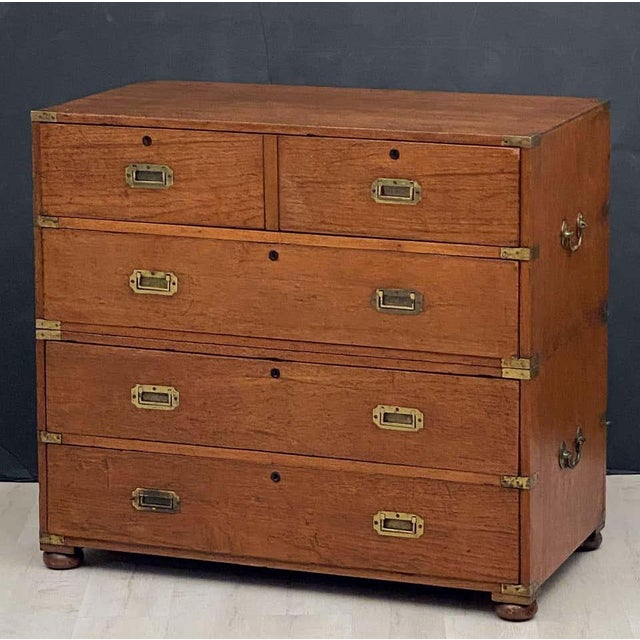 Campaign English Officer's Campaign Chest Secretaire of Teak and Brass For Sale - Image 3 of 13