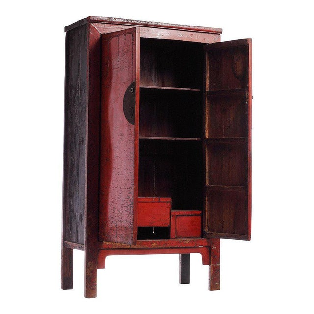 19th Century Chinese Large Red Lacquered Armoire With Iron Hardware For Sale - Image 4 of 7