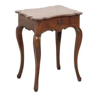 19th Century French Country Louis XV Style Walnut Side Table With Drawer For Sale