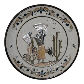 Folk Art Tecpatl Sandstone Raised Enamel Pottery Hanging Plate For Sale