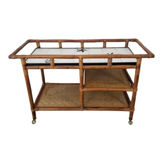 Vintage Three Tier Bamboo and Ceramic Top Rolling Bar Cart For Sale