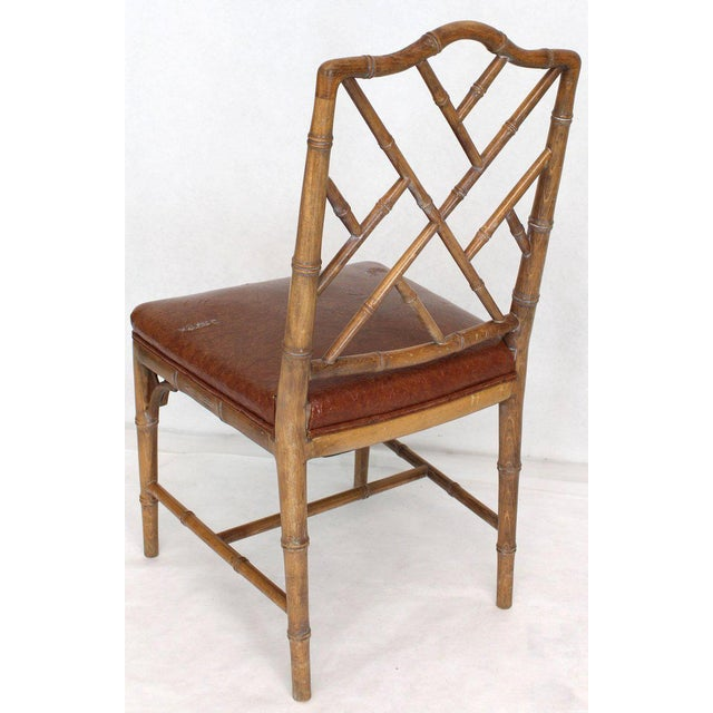 Faux Bamboo Set of Four Carved Faux Bamboo Dining Chairs For Sale - Image 7 of 9