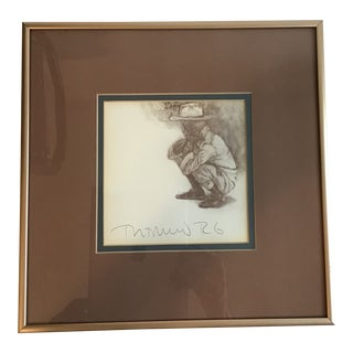 Original Signed Pen and Ink Framed and Matted Drawing For Sale