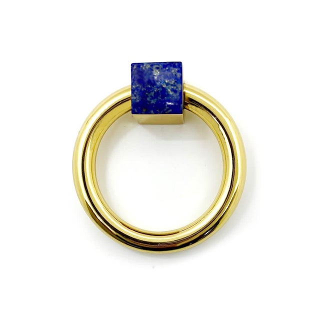 Traditional Addison Weeks Porter RIng Pull, Brass & Lapis For Sale - Image 3 of 4