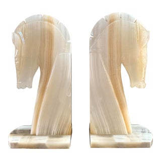 Onyx Marble Pair of Equestrian Bookends For Sale