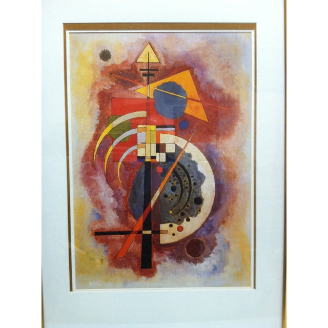 """This is a Framed and Matted Original Print that is titled """"Abstract Geometric Figures"""" by Wassily Kandinsky. The Print is..."""