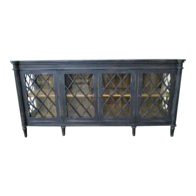Boho Chic Distressed Black Console with Glass Doors For Sale