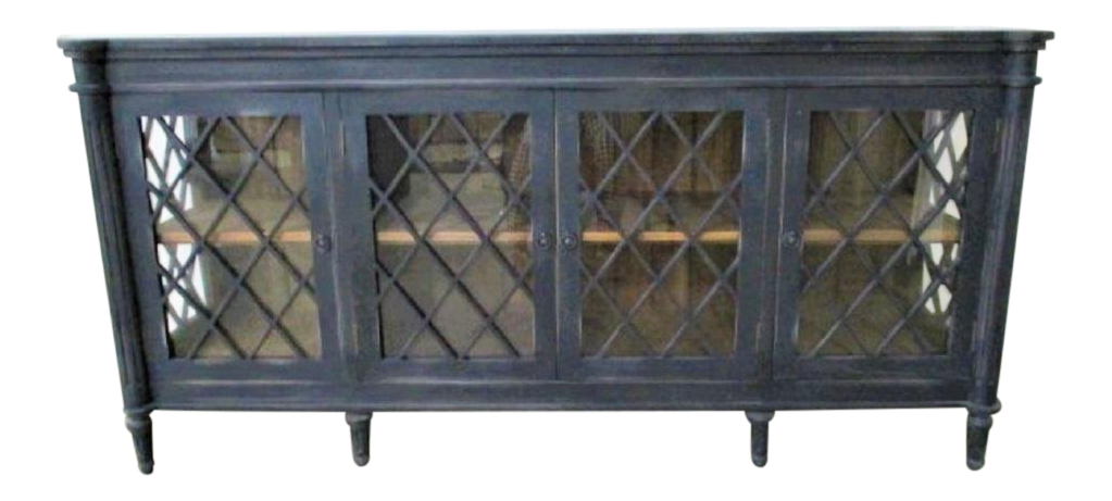 Boho Chic Distressed Black SideBoard Buffet With Glass Doors Chairish