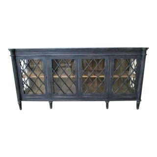 Boho Chic Distressed Black SideBoard Buffet With Glass Doors For Sale