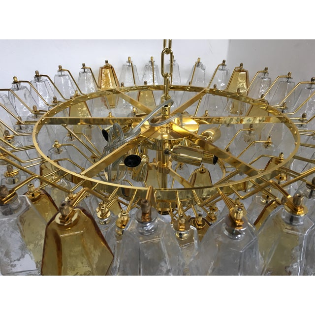 Chandelier Murano Glass Poliedro Transparent and Gold and Amber For Sale - Image 9 of 13
