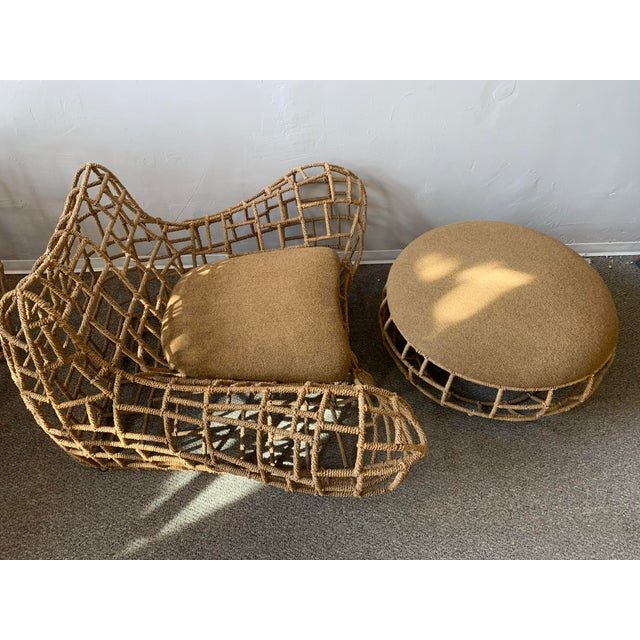 1970s Vintage Marine Rope Club Chairs and Ottomans - 4 Pieces For Sale In San Francisco - Image 6 of 12