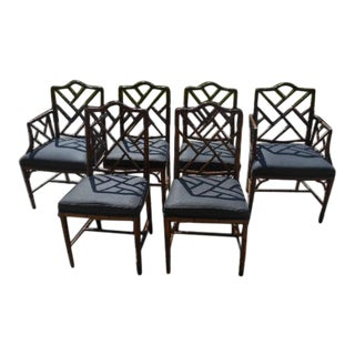 20th Century Chinese Chippendale Faux Bambo Chairs - Set of 6