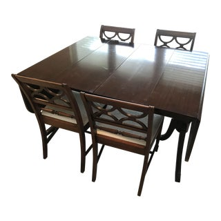 Mid Century Drop Leaf Expandible Dining Set For Sale