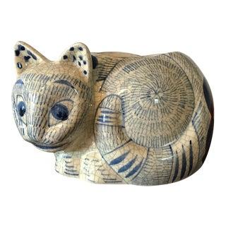 1970s Boho Chic Nancy Lopez Porcelain Cat Planter For Sale
