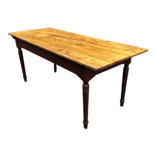Vintage PIne Farm Table With Original Painted Base For Sale