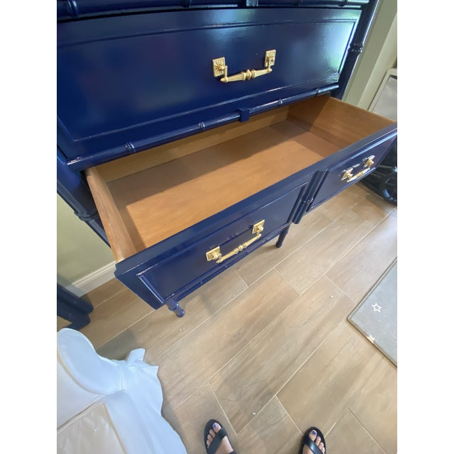 Palm Beach Chic Faux Bamboo Tall Dresser Lacquered in Navy Blue With Gold Handles For Sale - Image 9 of 11