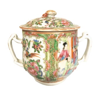 1800 Chinese Export Rose Mandarin Porcelain Sugar Bowl For Sale