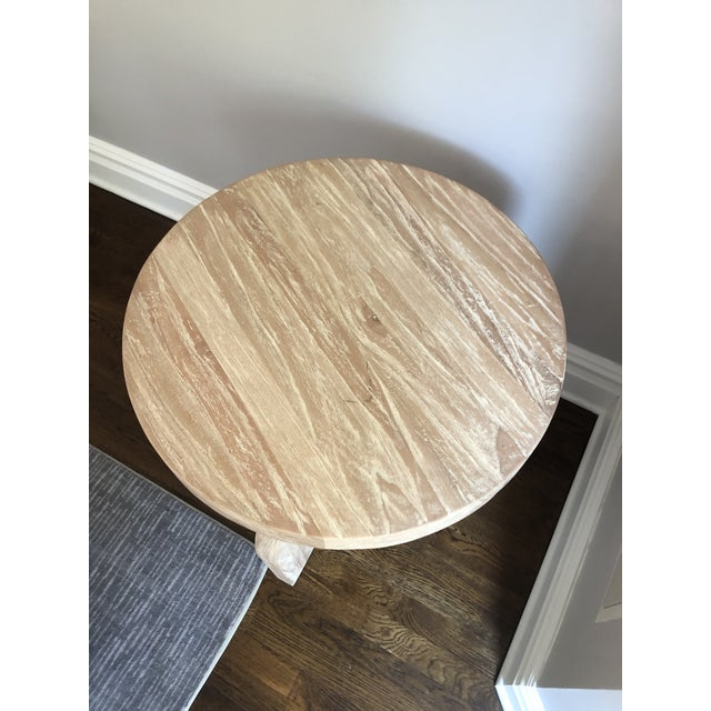 Contemporary Contemporary Noir Sculptural Distressed Wood Side Table For Sale - Image 3 of 6