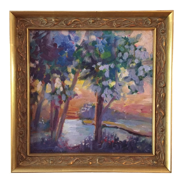 """""""Pond in Golden Light"""" Contemporary Expressionist Style Plein Air Landscape Oil Painting by Marina Movshina, Framed For Sale"""