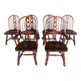 Sugar Hill Set of 6 Hoop Back Windsor Style Chairs For Sale