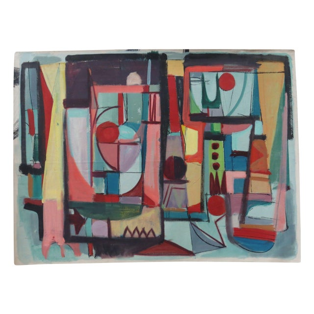 Mid-Century Colorful Abstract Oil Painting - Image 1 of 3