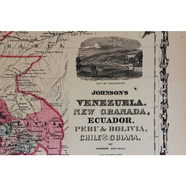 Vintage South America Map For Sale - Image 4 of 10