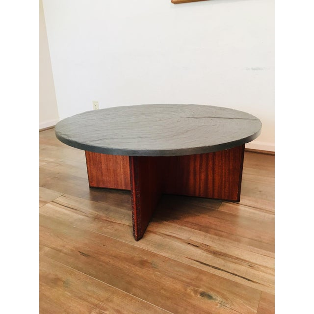 Frank Lloyd Wright for Henredon Coffee Table W/Slate Stone Top For Sale In San Francisco - Image 6 of 9
