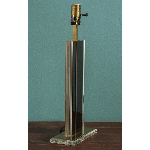 Mid-Century Brass and Glass Lamp For Sale - Image 4 of 5