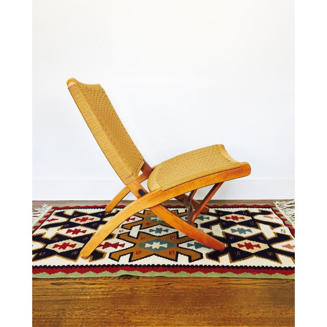 Mid Century Hans Wegner Style Folding Rope Chair For Sale - Image 4 of 8