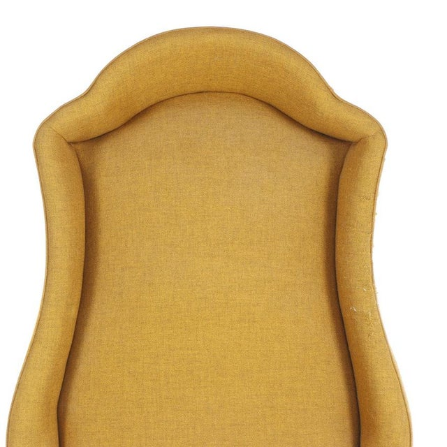 Vintage Mid-Century Porter's Chair in Mustard Wool Upholstery on a Limed Wood Base For Sale In Providence - Image 6 of 13