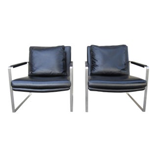 Camerich Black Leather Steel Leman Lounge Chairs- a Pair For Sale