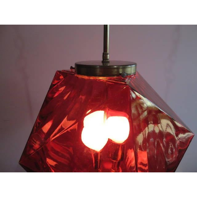 Geodesic Cranberry Colored Light Pendant Mid Century Modern For Sale In West Palm - Image 6 of 11