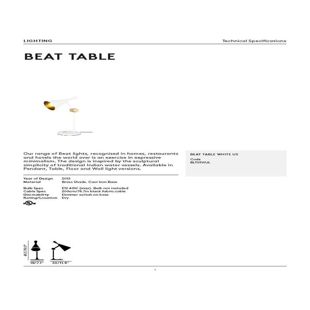 Metal Tom Dixon Beat Table Light in White For Sale - Image 7 of 9