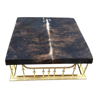 Vintage Mid Century Hollywood Regency Erwin Lambeth Custom Brass & Cowhide Ottoman For Sale