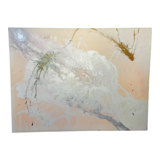 """Jacqueline Angove """"Peach Rose"""" Mixed Media Painting - Image 1 of 13"""