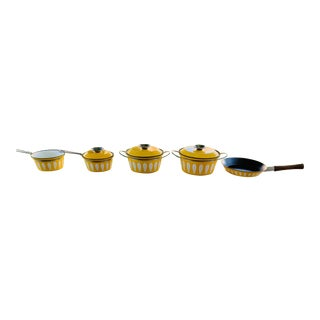 1960s Mid-Century Modern Yellow Catherineholm Lotus Enamelware Pots - Set of 5 For Sale