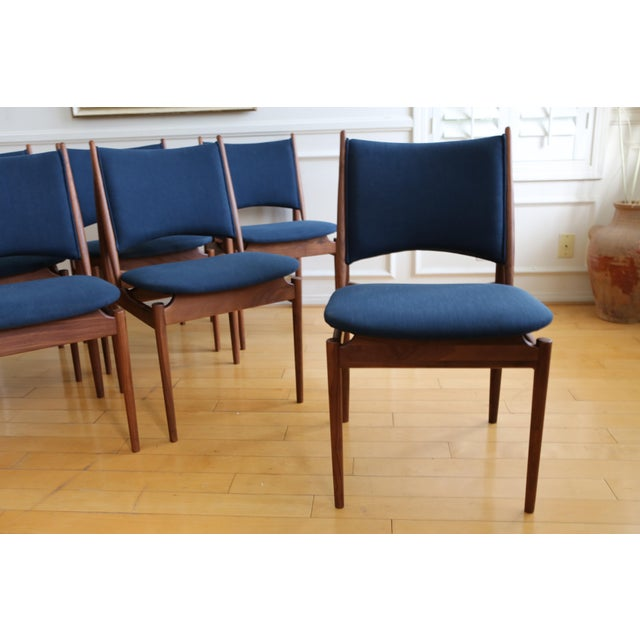Brown Mid Century Modern Teak Dining Chairs in Navy Blue - Set of 8 For Sale - Image 8 of 11