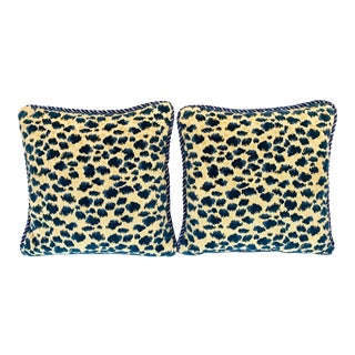 Contemporary Brunschwig and Fils Zambezi Gross Point Cut Velvet Pillows - Set of 2 For Sale