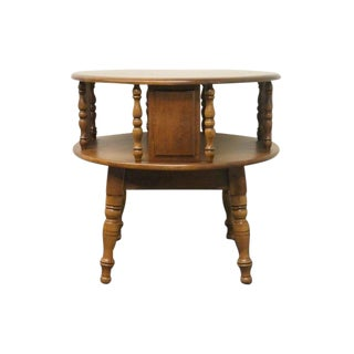 20th Century Early American Heywood Wakefield Round Maple Rotating End Table For Sale