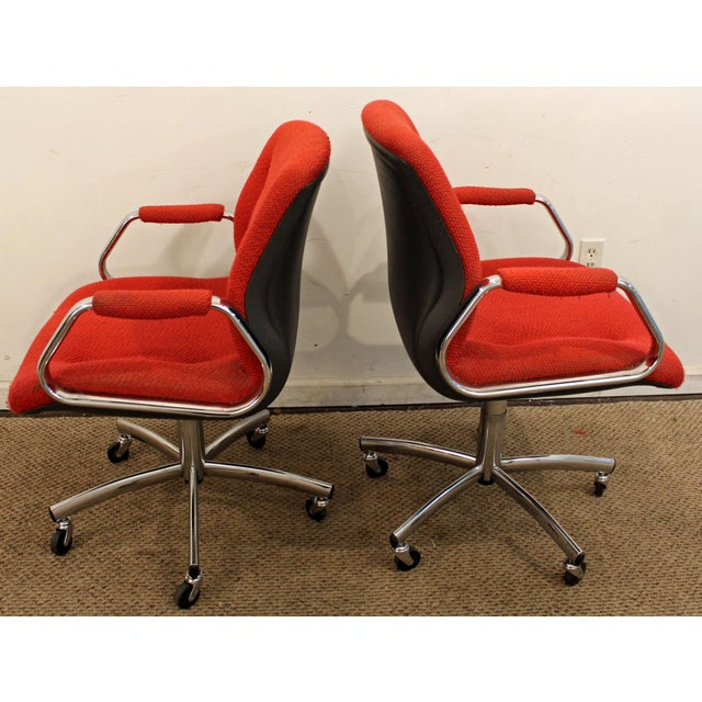 Mid-Century Danish Modern Red Chrome Steelcase Office Chairs on Wheels - a Pair For Sale - Image 5 of 11