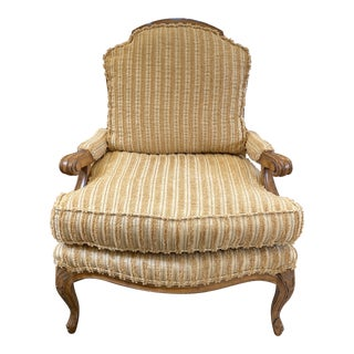 Custom Gold Stripe Bergere Chair For Sale