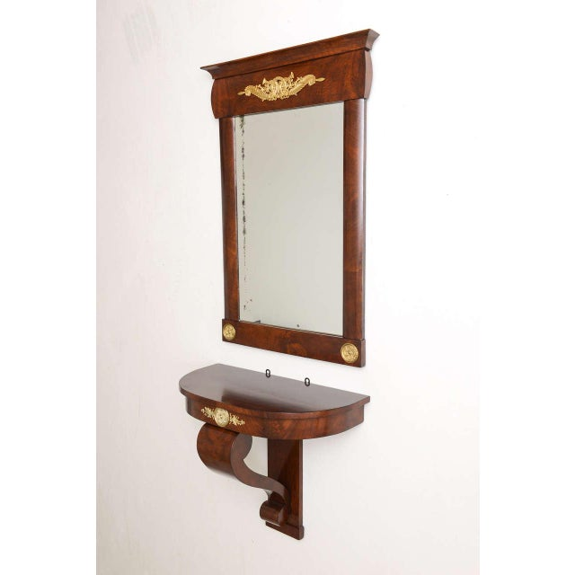 19th Century Austrian, Biedermeier Wall-Hung Demi lune Console with Mirror For Sale In West Palm - Image 6 of 11