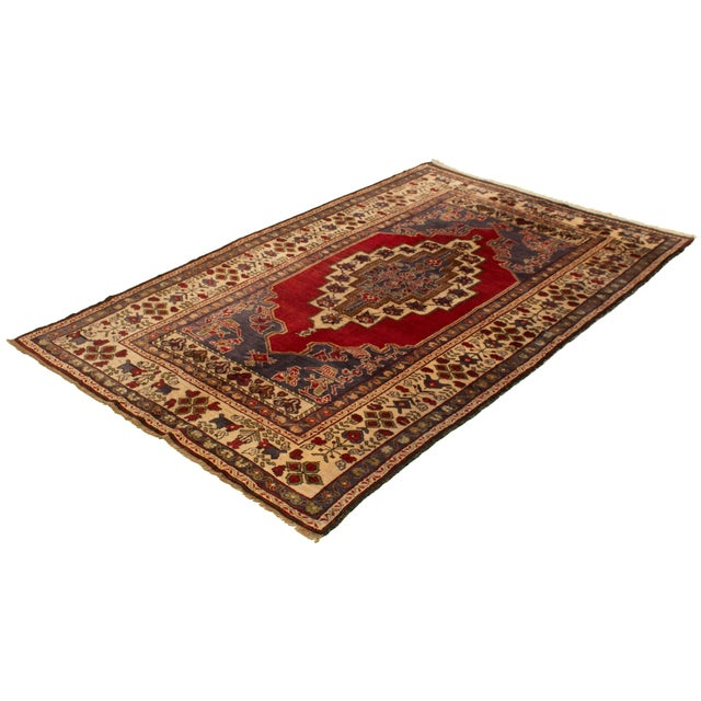Boho Chic Vintage Turkish Red Rug For Sale - Image 3 of 9