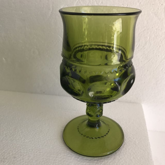 Glass Mid-Century Green Goblet Glasses - Set of 7 For Sale - Image 7 of 10
