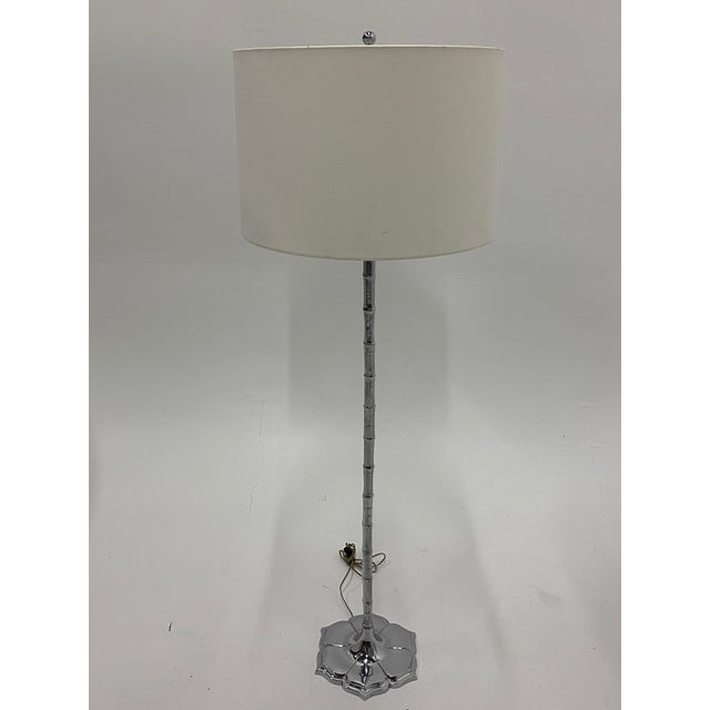 1960s Mid-Century Modern Chrome Faux Bamboo Floor Lamp For Sale - Image 5 of 12