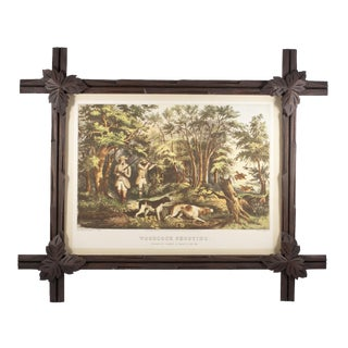 Black Forest Style Frame With Vintage Hunting Print